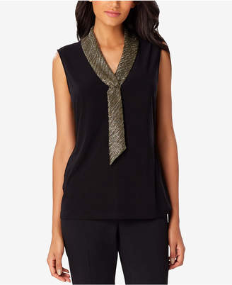Tahari ASL Lame-Neck Sleeveless Shell