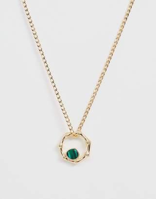 Asos Design DESIGN necklace with bamboo open circle and genuine semi-precious stone in gold tone