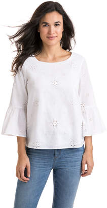 Vineyard Vines Eyelet Bell Sleeve Top