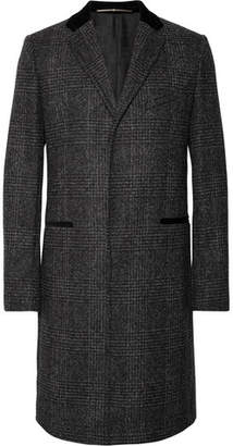 Givenchy Slim-Fit Velvet-Trimmed Prince of Wales Checked Wool-Blend Coat - Charcoal