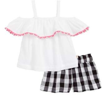 Kate Spade cold shoulder top & gingham shorts