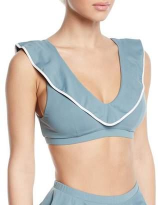 Marysia Swim Piana V-Neck Ruffle Triangle Bikini Top