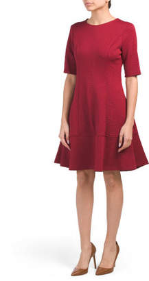 Petite Jacquard Elbow Sleeve Fit N Flare Dress