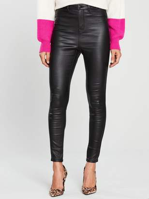 Very Addison Coated Super High Waisted Super Skinny Jean - Black