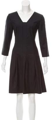Black Fleece A-Line Knee-Length Dress