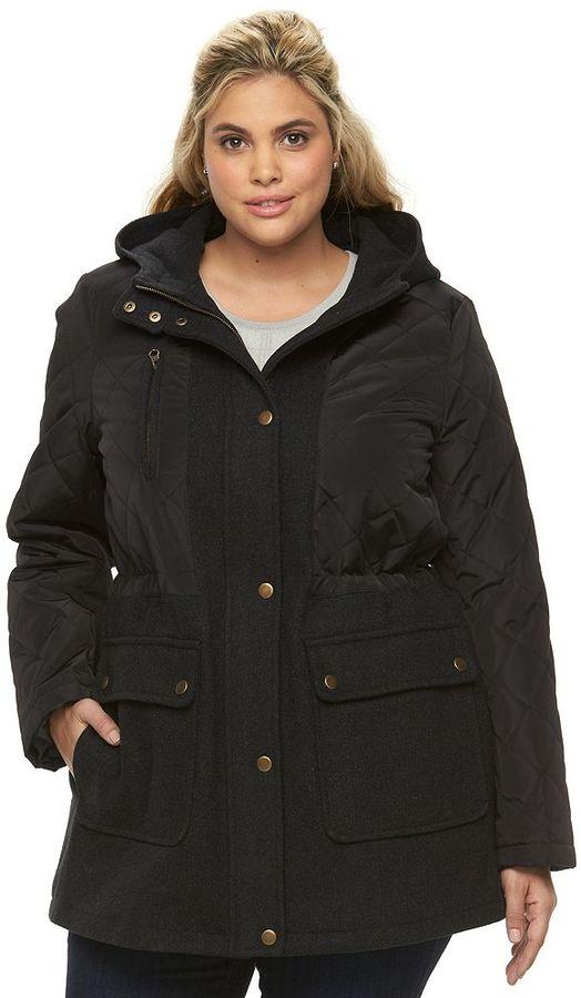 Apt. 9Plus Size Apt. 9 ̈ Hooded Quilted Wool Blend Anorak Jacket