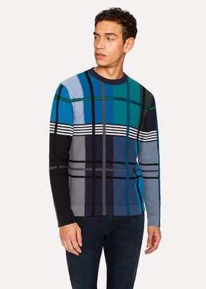 Paul Smith Men's Colour-Block Check Merino Wool-Blend Knitted Sweater