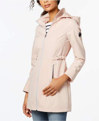 Nautica Buckle-Side Hooded Softshell Raincoat