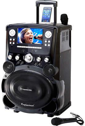 KARAOKE USA Karaoke USA GP978 Professional DVD/CD+G/MP3+G Player with 7 Color TFT Display, Record, Bluetooth and Tote Wheels