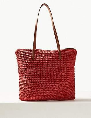 Marks and Spencer Straw Zipped Detail Shopper Bag