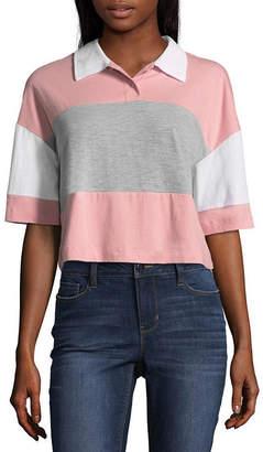 Flirtitude Short Sleeve Collar Neck T-Shirt-Womens Juniors