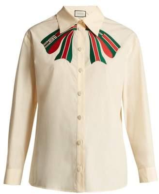 Gucci Trompe L'oeil Bow Cotton Poplin Shirt - Womens - White