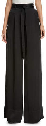 Josie Natori High-Waist Wide-Leg Satin Pants