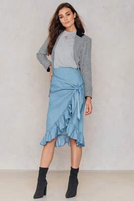 Shein Overlap Ruffle Knot Skirt Blue
