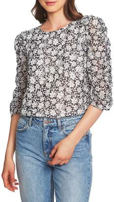 1 STATE 1.STATE Wild Blooms Ruched Sleeve Blouse