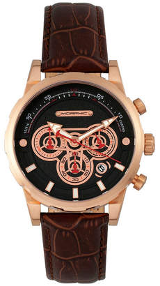 Morphic M60 Series Chronograph Leather-Band Watch w/Date - Rose Gold/Brown