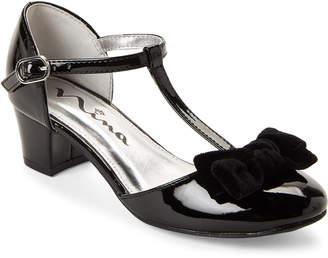 Nina Kids Girls) Black Almira Bow T-Strap Shoes