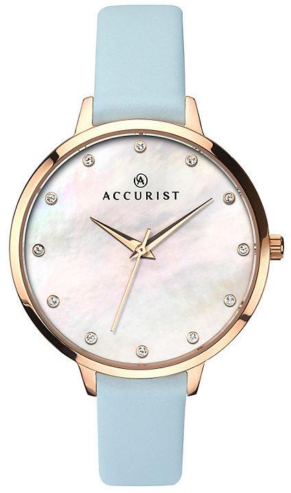 Accurist Ladies' Blue Leather Strap Watch