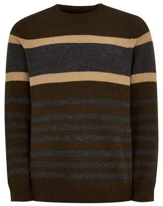 Topman Mens SELECTED HOMME Brown Wool Rich Stripe Sweater