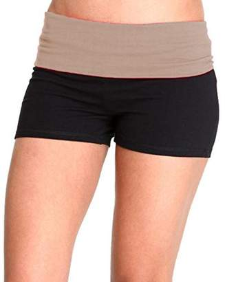 Hollywood Star Fashion Solid Plain Color Yoga Fold Over Shorts Pants