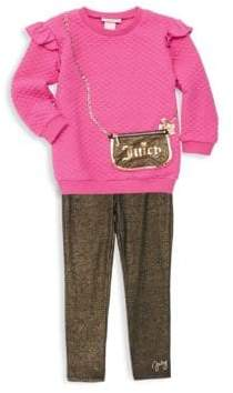 Juicy Couture Little Girl's Two-Piece Purse Graphic Sweater and Metallic Leggings Set