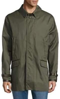 Brioni Leather Trimmed Cotton-Silk Jacket