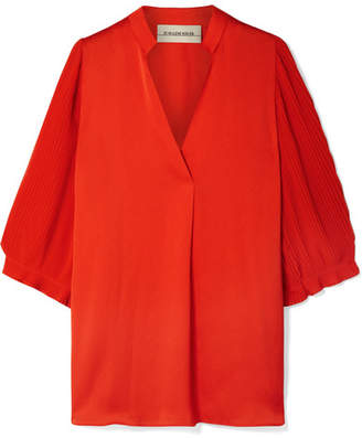 By Malene Birger Sanah Pleated Crepe And Georgette Blouse - Orange