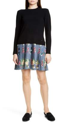 Ted Baker Izitaa Oracle Long Sleeve Pleat Skirt Dress
