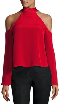Ramy Brook Serena Cold-Shoulder Tie-Neck Top $325 thestylecure.com