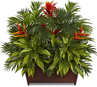 Nearly Natural Tropical Garden Artificial Arrangement in Wood Planter