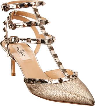 Valentino Rockstud Caged 65 Metallic Leather Ankle Strap Pump