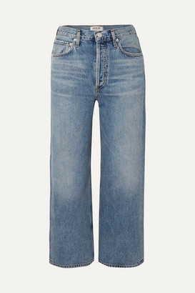A Gold E Agolde AGOLDE - Ren Cropped High-rise Wide-leg Jeans - Mid denim