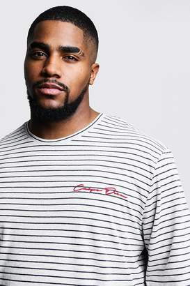 boohoo Big & Tall Stripe Long Sleeve Slogan T-Shirt