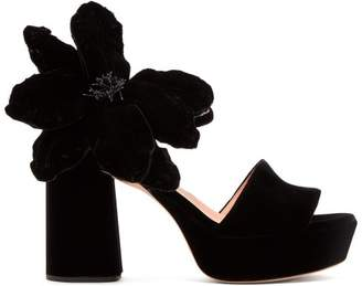 Rochas Abigail Flower AppliquA Platform Velvet Sandals - Womens - Black