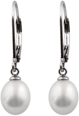 Splendid Pearls Freshwater Pearls Rhodium Plated Silver 7.5-8Mm Freshwater Pearl Drop Earrings