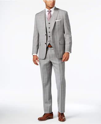 Michael Kors Men's Classic-Fit Light Gray Glen Plaid Vested Suit $695 thestylecure.com