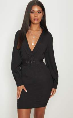 PrettyLittleThing Black Plunge Belted Shirt Dress