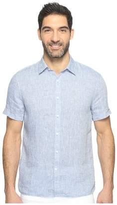 Perry Ellis Short Sleeve Solid Linen Shirt Men's Short Sleeve Button Up