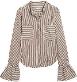 Frame Striped Cotton-poplin Shirt - Brown