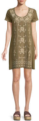 Johnny Was Lane Short-Sleeve Embroidered Tunic Dress, Plus Size