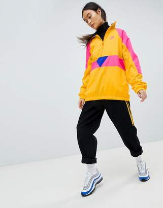 Nike Vaporwave Oversized Half Zip Track Jacket In Yellow With Colour Block