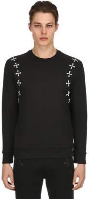 Neil Barrett Stars Printed Cotton Jersey Sweatshirt