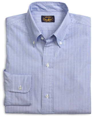 Brooks Brothers Own Make Blue End-on-End with White Stripe Sport Shirt