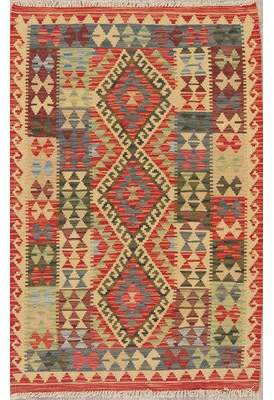 """Rugsource One-of-a-Kind Foyer Persian Handwoven Flatweave 3'2"""" x 5' Wool Ivory Geometric Area Rug Rugsource"""