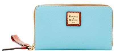 Dooney & Bourke Pebble Grain Zip Around Phone Wristlet - CARIBBEAN BLUE - STYLE