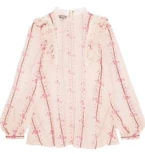 Giambattista Valli Lace-Trimmed Printed Silk-Chiffon Blouse