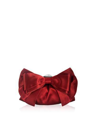 Judith Leiber Couture Madison Satin Bow Clutch Bag, Silver/Crimson