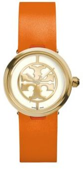 Tory Burch Tory Burch Reva Goldtone Stainless Steel & Leather Strap Watch/Orange