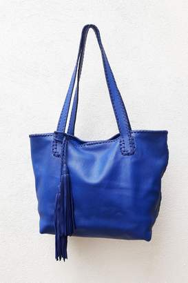 Areias Leather Blue Tote Bag