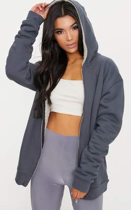 PrettyLittleThing Charcoal Blue Oversized Borg Lined Zip Up Hoodie